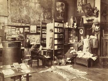 The painter Gustave Boulanger in his sudio, Paris