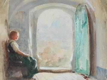 Seated Young Woman contemplating