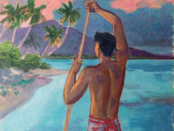 Young Tahitian Man in his pirogue