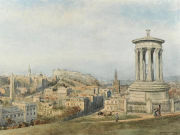 View of Edinburgh with the monument of Dugald Stewart