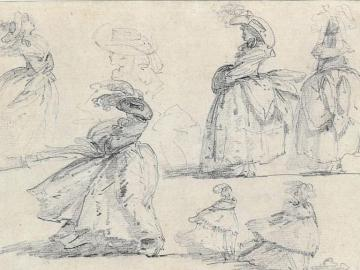 Study of women with hat and little girls