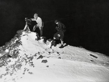 Dr Wilson and Lieut. Bowers reading the ramp thermometer in the winter night, -40°Fahr
