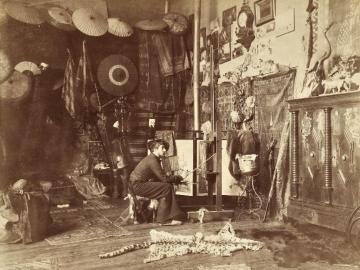 The painter Georges Antoine Rochegrosse in his sudio